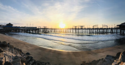 Redondo Beach pier sunset panorama